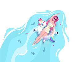 Donna in unicorno che galleggia sull'acqua