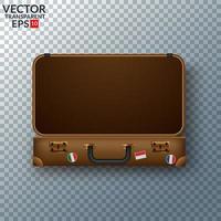 Vecchia valigia in pelle vintage con adesivi da viaggio