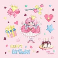 Set compleanno principessa vettore
