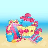 Set di accessori da spiaggia estivi vettore
