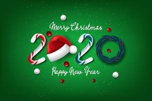 2020 nuovo anno e cartolina di Natale vettore