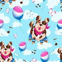 Fondo senza cuciture del cane sui pattini di rullo vettore