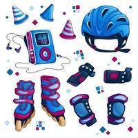 Set di accessori per pattinaggio a rotelle vettore