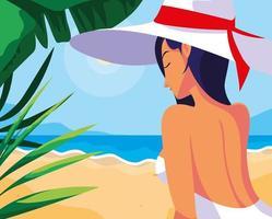 donna con costume da bagno in spiaggia vettore