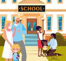 i genitori salutano i bambini nell'edificio scolastico di fronte