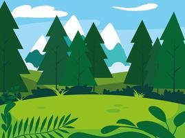 paesaggio soleggiato con scena di alberi di pino vettore