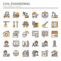 Set di icone monocromatiche ingegneria civile linea sottile vettore