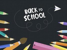 Modello del manifesto della matita colorata lavagna di ritorno a scuola