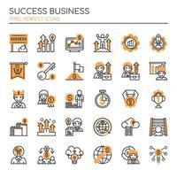 Set di icone monocromatiche di successo di linea sottile monocromatica