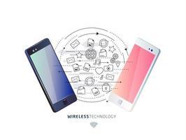 Concetto isometrico di scambio tra smartphone. vettore