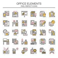 Set di elementi per ufficio linea sottile due tonalità vettore