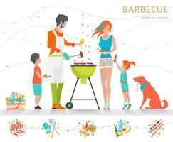 Famiglia barbecue sulla griglia con set di diversi prodotti alimentari lungo il fondo vettore