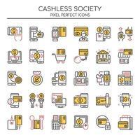 Set di icone di società senza contanti linea sottile di due tonalità vettore