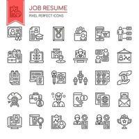 Set di icone di curriculum lavoro sottile linea in bianco e nero