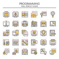 Set di icone di programmazione di linea sottile di due tonalità vettore