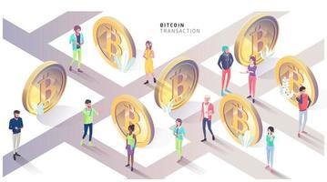 Concetto isometrico con bitcoin e persone. Città di Bitcoin.