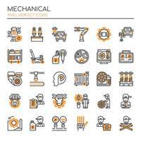 Set di icone meccaniche monotono linea sottile