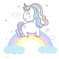 Unicorno carino e dolce arcobaleno vettore