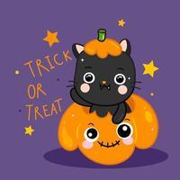 Gatto sveglio di Halloween con l'animale di scarabocchio della zucca vettore