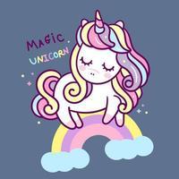 Simpatico cartone animato unicorno che dorme o arcobaleno