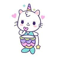 Sirena di unicorno gatto arcobaleno vettore