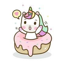 Unicorno disegnato a mano con torta dolce vettore