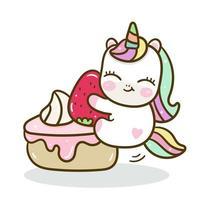 Vettore di unicorno carino con sfondo di torta dolce