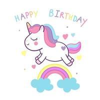 Simpatico decoro compleanno unicorno e arcobaleno vettore