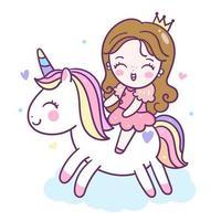 Simpatico cartone animato unicorno con principessa vettore