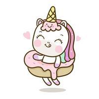 Simpatico cartone animato unicorno e ciambella vettore