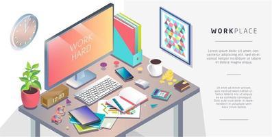 Concetto isometrico del posto di lavoro con computer e attrezzature per ufficio.