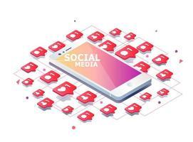 Telefono cellulare con Mi piace, nuovi commenti, messaggi e icone dei follower