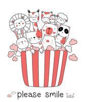 Simpatico cartone animato animale bambino e popcorn