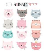 faccia di gatto stile grafico dei cartoni animati