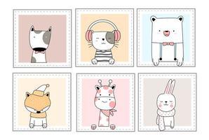 Animali svegli del bambino con stile disegnato a mano del fumetto della finestra
