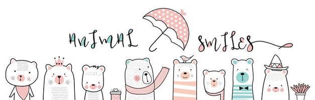 simpatici orsetti e cartoni animati di ombrelli vettore