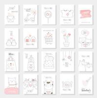 Set di carte di San Valentino con stile disegnato a mano vettore