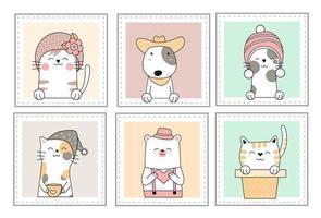 Simpatici cuccioli di animali nella finestra