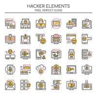 Insieme di elementi di hacker di linea sottile di due tonalità