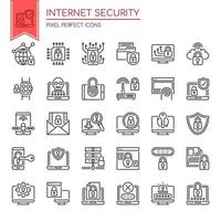 Set di icone di sicurezza Internet bianco e nero linea sottile