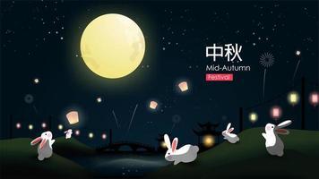 I conigli si divertono vicino al fiume in una notte di luna piena vettore