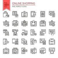Set di icone dello shopping online di linea sottile in bianco e nero vettore