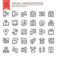 Set di icone di comunicazione sociale in bianco e nero vettore