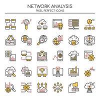 Set di icone di analisi della rete di linea sottile due tonalità
