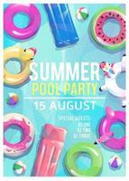 Locandina festa in spiaggia estiva con diversi tipi di galleggianti per piscina