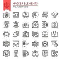 Insieme di elementi di hacker di linea sottile bianco e nero