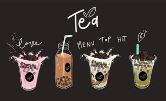 Raccolta di bevande a base di tè al latte e bolle vettore