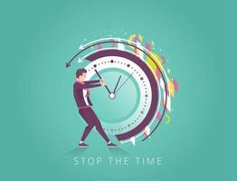 Uomo d'affari cercando di fermare il tempo vettore