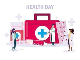 carta della giornata mondiale della salute con i medici vettore