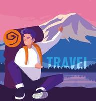 paesaggio con lago e viaggiatore